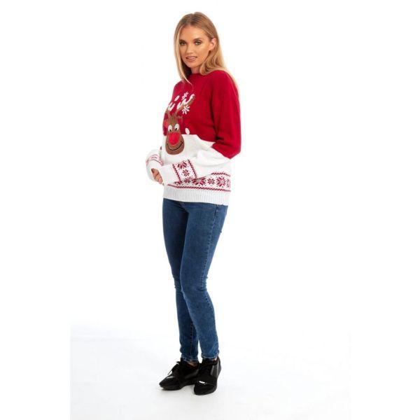 Rood met witte dames kersttrui, waarvan de bovenste helft rood is en de onderste helft wit (hetzelfde bij de mouwen). De kersttrui is verder versierd van Noorse patronen boven de taille en aan het uiteinde van de mouwen. Tevens heeft de kersttrui een print van Rudolf op de voorzijde en is de kersttrui voorzien van tricot manchetten aan de hals, mouwen en taille.