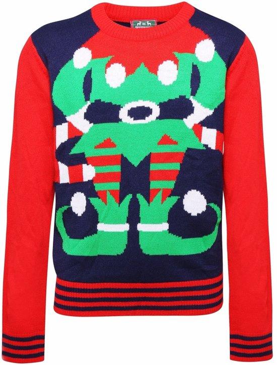 Blauwe kinder kersttrui met rode mouwen ent tricot manchetten aan de hals, mouwen en taille. De kersttrui is verder versierd met een groene elven print aan de voorzijde.