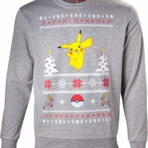 Grijze uniseks kersttrui met Pokémon print van Pikachu, Stantler en een Pokéball. De kersttrui is verder versier met verschillende Noorse patronen.