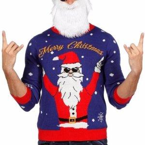 """Blauw/paarse heren kersttrui met een rode tricot manchetten aan de hals, mouwen en taille. De kersttrui heeft een print van een rockende kerstman met erboven de tekst """"merry christmas""""."""