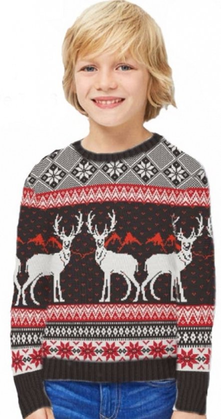 Deze Noorse kinder kersttrui heeft tricot manchetten aan de hals, mouwen en taille. De kersttrui is tevens versierd met verschillende Noorse patronen en een print van witte rendieren op borsthoogte.