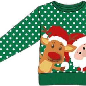Groene kinder kersttrui met witte stippen en tricot manchetten aan de hals, mouwen en taille. De kersttrui heeft aan de voorzijde een print van Rudolf met kerstmuts samen met de kerstman.
