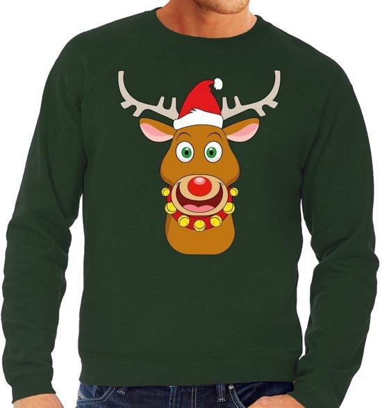 Groene heren kersttrui met een afbeelding van een vrolijke Rudolf met kerstmuts.