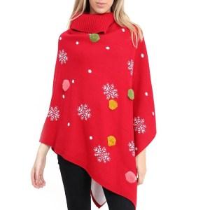 poncho rood sneeuw kerstballen