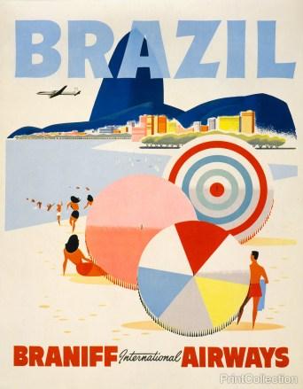 flight brazil retro vintage poster