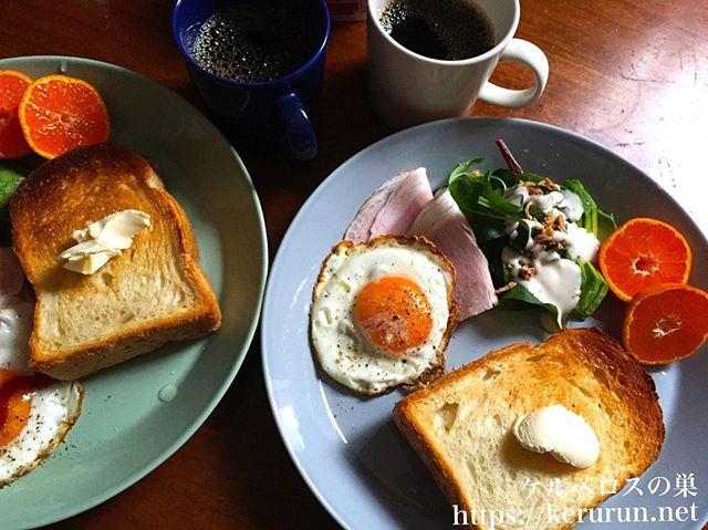 ハムと目玉焼きのワンプレート朝ごはん