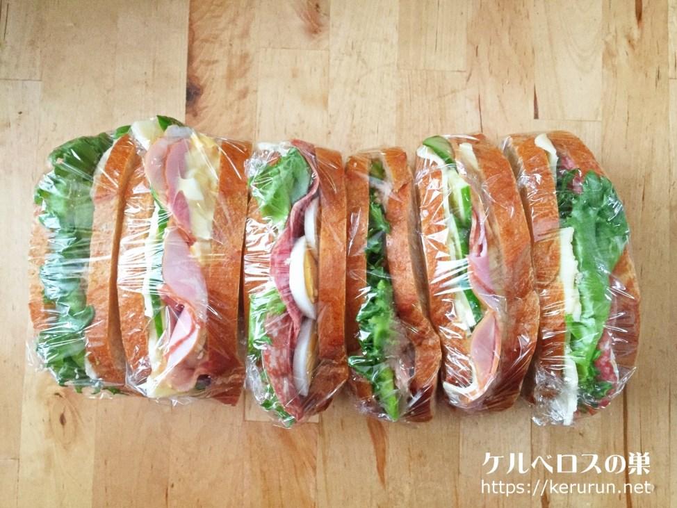 カントリーフレンチホールウィートブレッドで作るサンドイッチ弁当