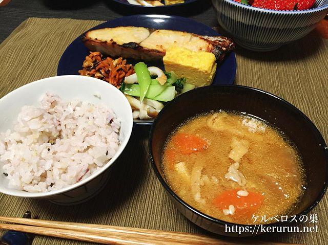 二日目の豚汁と鰆の西京焼きと副菜色々