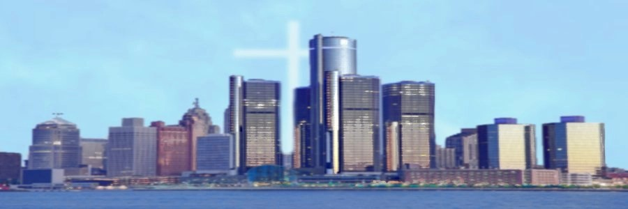 Detroit, MI waterfront photo with cross glowing in the sky above it