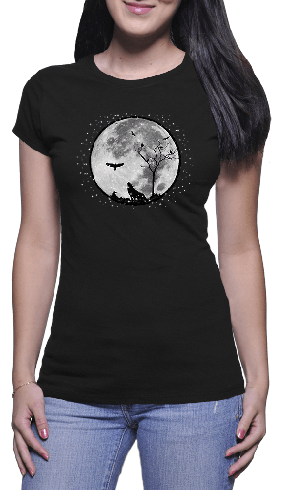 Wolf, Raven and the Moon Ladies Black T-shirt