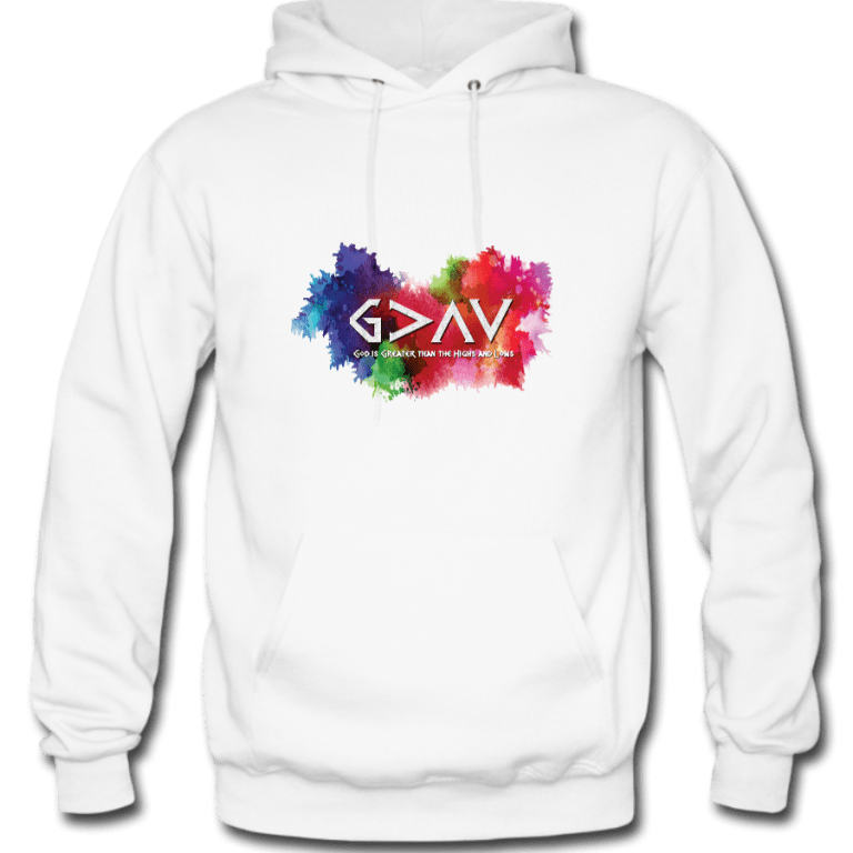 God is Greater than the Highs and Lows Hoodie White