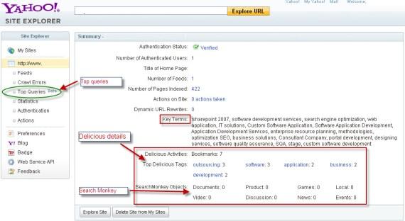 Yahoo Webmaster Tool Update