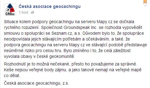 Oznámení České asociace geocachingu