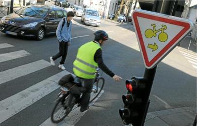 tourner à droite vélo