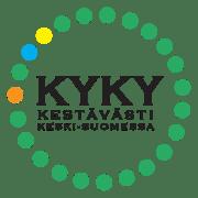 KYKY-ryhmän logo, vihreät pallot kiertävät kyky-tekstiä.