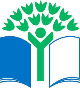 Vihreä lippu -ogo: sininen kirja, vihreä puu