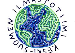 Keski-Suomen ilmastotiimin logo, jossa piiretty maapallo