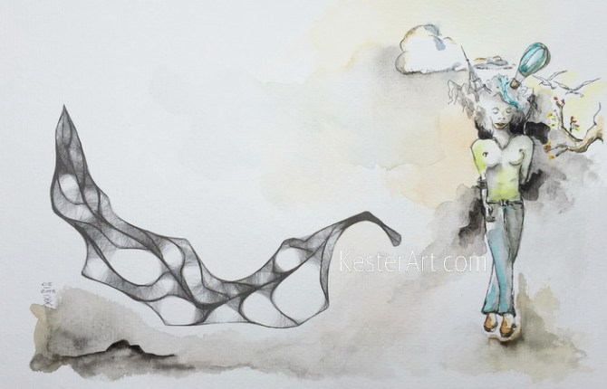 watercolor of a girl with dreams flying above her head