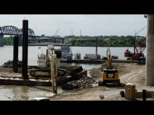 Liebherr 994 & Cat 349 removing Indiana causeway