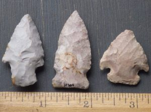 3 Indiana Arrowheads -Side Notched, Corner Notched and Stemmed