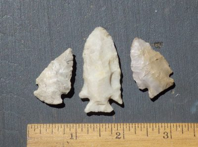 3 Notched Native American Indian Arrowheads