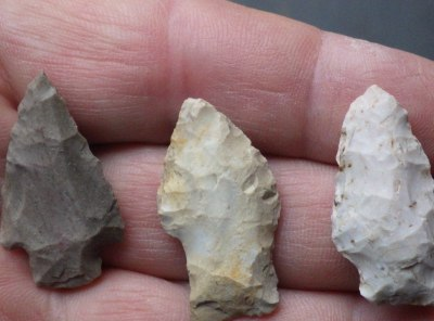 3 Small Stemmed Native American Indian Arrowheads