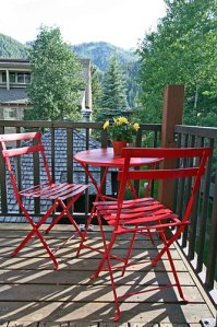 Bistro table on lower deck with views of Bald -- a great spot for morning coffee!