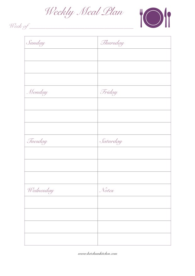 A5 Weekly Meal Plan Template