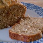 banana loaf with one slice cut