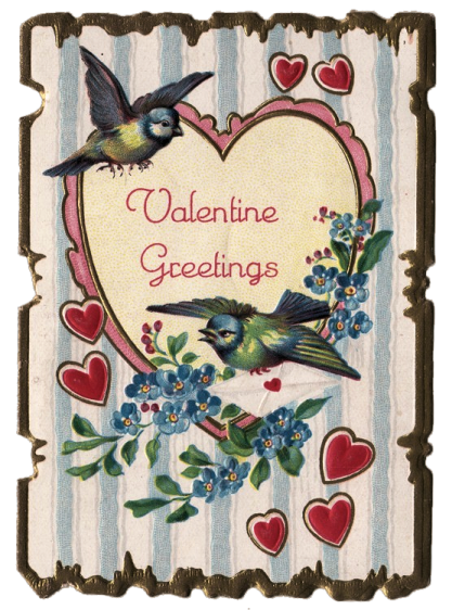 Vintage Valentine's card with two blue birds