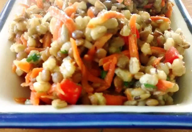Lentil Barley Salad with Lemon Thyme Viniagrette