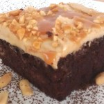 Chocolate Caramel Poke Cake with Peanut Butter Frosting