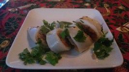 Stuffed calamari. Note the green.