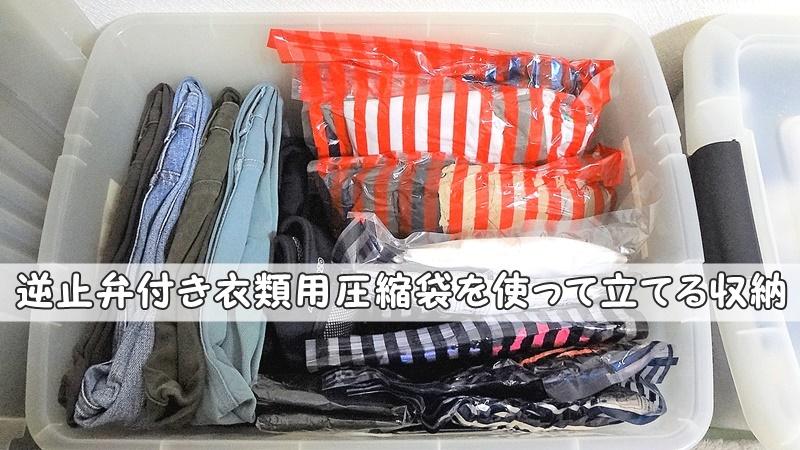 逆止弁付き衣類用圧縮袋ダイソー収納トラベル厚うす物深型衣装ケース長期保管フタ式