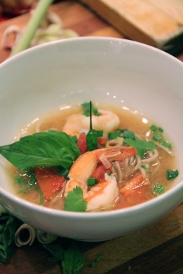 Tom Yum Goong with Buckwheat Soba Noodles (medium) © KETMALA'S KITCHEN 2012-13