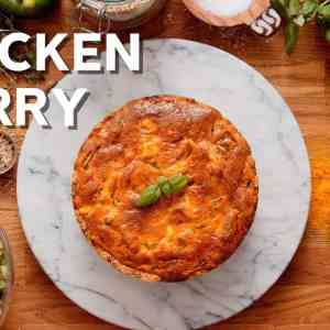 Keto chicken curry pie