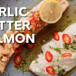 Keto lemon garlic butter salmon with almonds and chili