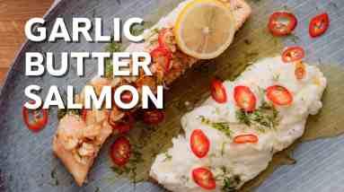 Keto lemon garlic butter salmon with almonds and chili