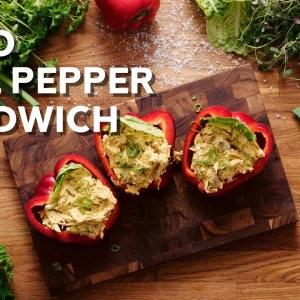 Keto chicken curry bell pepper sandwich