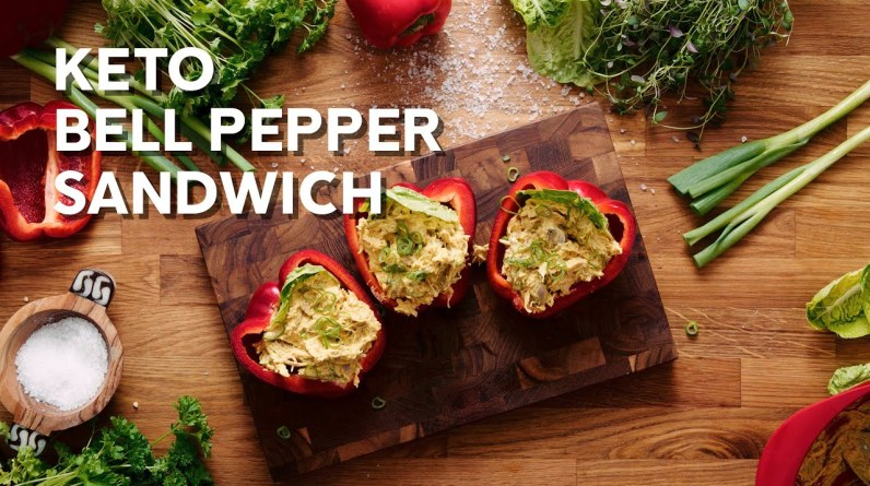 Keto chicken curry bell pepper sandwich