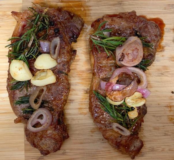 Butter-basted, Pan seared New York strip steak