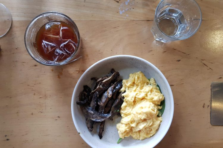 eggs mushroom and ice coffee