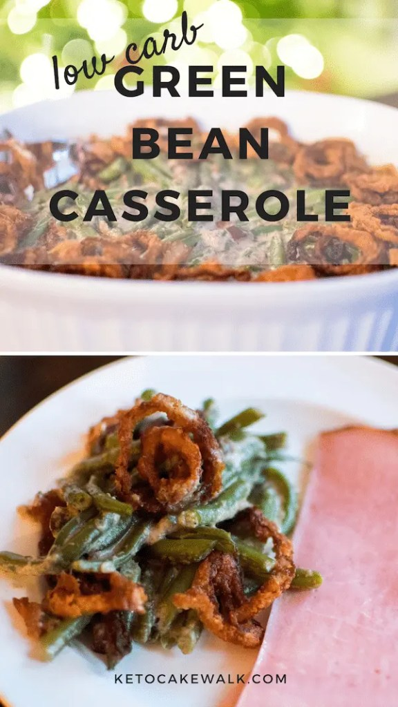 Fresh green beans, mushrooms, and fried shallots combine to make the this low carb green bean casserole that has all the familiar flavors of the old classic. #lowcarb #keto #holidays #greenbeancasserole #sides #glutenfree #grainfree