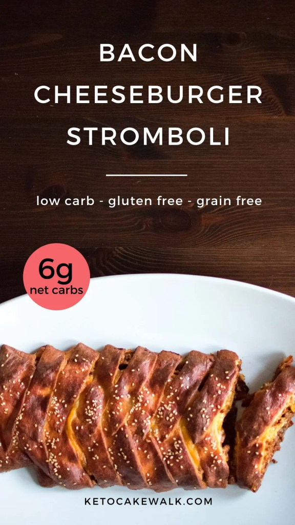 Make this super easy keto dinner that will please the whole family with all the flavors of a bacon cheeseburger! #lowcarb #keto #baconcheeseburger #stromboli #easy #dinner #glutenfree #grainfree