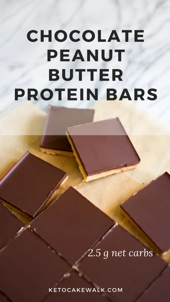 These low carb chocolate peanut butter bars come together in 15 minutes and are loaded with protein! #lowcarb #keto #peanutbutter #chocolate #protein #bars #dessert #snacks #nobake