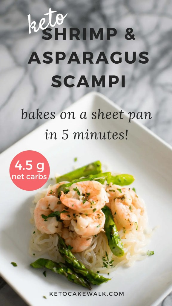Low Carb Shrimp & Asparagus Scampi is the easy weeknight dinner of your dreams! Bakes in just 5 minutes! #lowcarb #keto #shrimp #asparagus #scampi #sheetpan #dinner #glutenfree #grainfree
