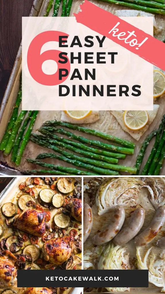 Six Easy Sheet Pan Dinners for your keto diet! Make your life so much easier with these meals that all cook on one pan! #keto #lowcarb #sheetpan #dinner #easy #glutenfree #grainfree #fast #quick
