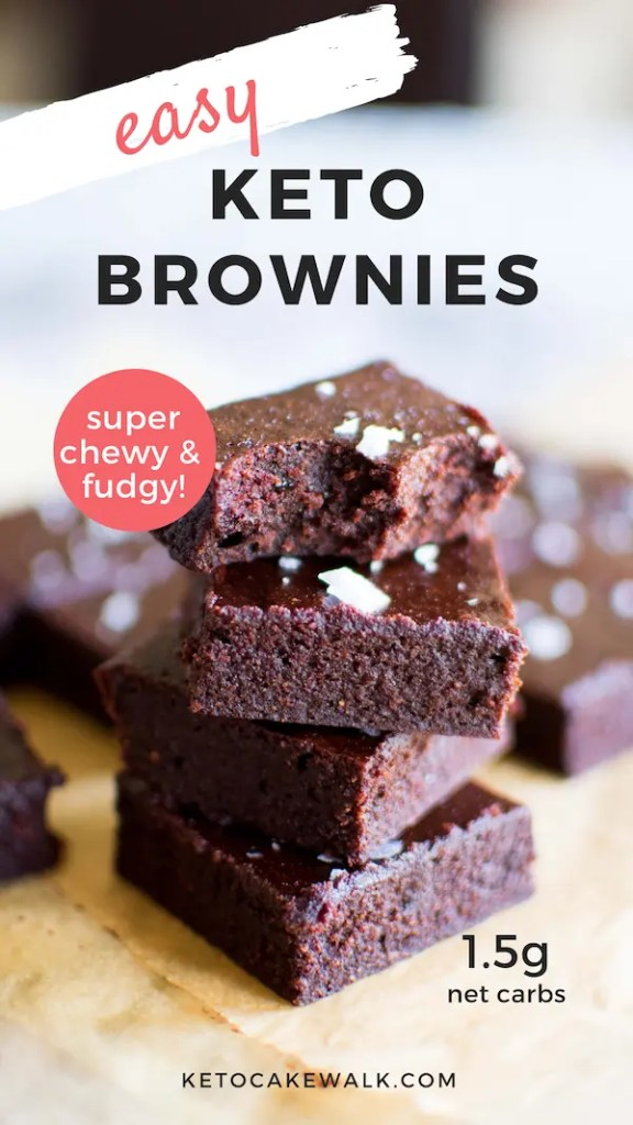 These easy keto brownies are super fudgy and perfectly chewy! Deep dark chocolate deliciousness! #lowcarb #keto #brownies #easy #fudgy #chewy #desserts #bars #glutenfree #grainfree #sugarfree