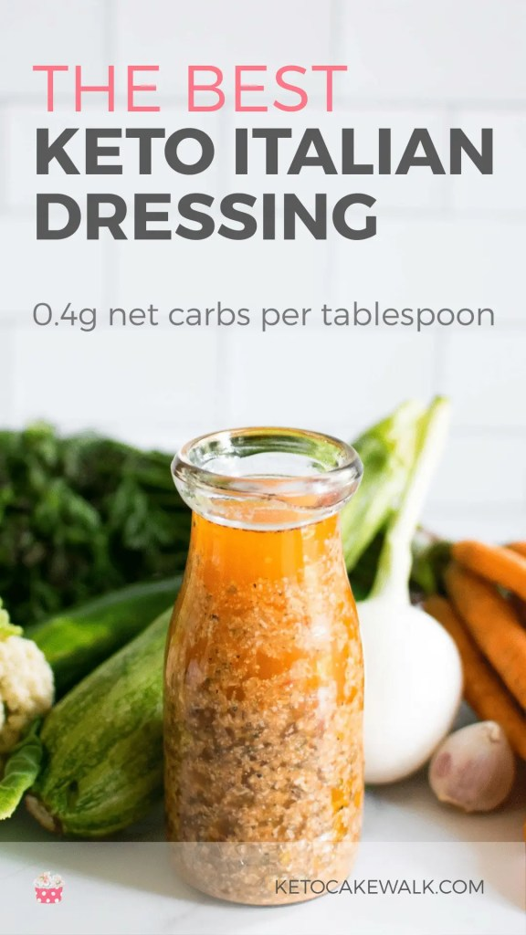 Making clean Italian dressing is so much easier than you'd think! Healthy ingredients and NO SUGAR make up this keto Italian dressing that comes together in just five minutes! #keto #lowcarb #dressing #saladdressing #italiandressing #marinade #easy #sugarfree #glutenfree #clean