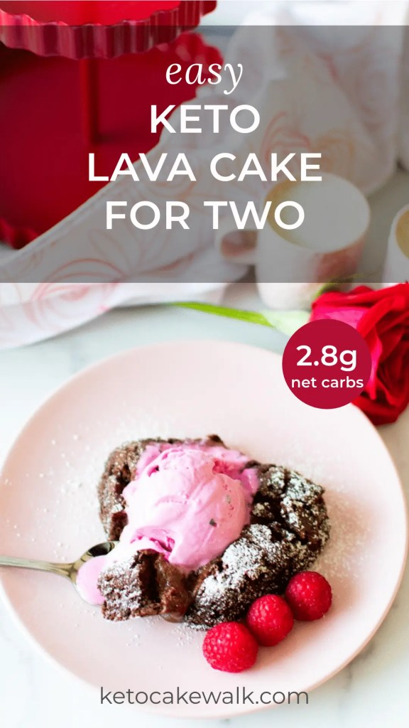 Perfect date night dessert! This keto lava cake is rich and decadent at only 2.8g net carbs! Get your Valentine's dessert on with this super easy recipe! #keto #lowcarb #chocolate #cake #lavacake #dessert #treats #valentinesday #datenight #fortwo #glutenfree #grainfree #sugarfree #nutfree